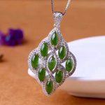 925 silver Natural Green HeTian Yu Beads Gem Inlay <b>Handmade</b> Rhombus Style Lucky Pendant Necklace + certificate Fashion <b>Jewelry</b>