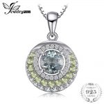 JewelryPalace Round 2ct Green Amethyst Peridot Pendant <b>Necklaces</b> For Women 925 Sterling <b>Silver</b> Box Chain 45cm Gemstone Jewelry