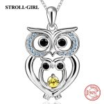 New arrival sterling silver 925 cute animal owl with cubic Zircon pendant chain necklace diy fashion <b>jewelry</b> <b>making</b> women gifts