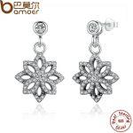 BAMOER Vintage 925 Sterling Silver Lace Botanique, Clear CZ Floral Motif Drop Earrings for Women <b>Jewelry</b> PAS432