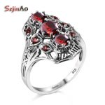 Szjinao Punk Red Stone Soild 925 Sterling <b>Silver</b> Ring Restoring Ancient Female Fashion Garnet Wedding <b>Jewelry</b> Big Order Price