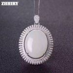 Natural White Jade Necklace 925 <b>Sterling</b> <b>Silver</b> Women <b>Jewelry</b> Pendant With Chain ZHHIRY