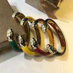 Brand <b>Fashion</b> Leather bangle For Women Light Gold Color Snake Head Bangle Copper <b>Jewelry</b> Colorful bulgaria Bracelet Top Quality