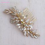 Jonnafe Handmade Gold Leaf Hair Comb Boho Hairpiece Pearls Wedding Hair Accessories Combs Women Headpiece <b>Jewelry</b>