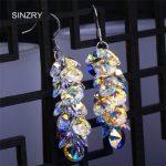 SINZRY <b>jewelry</b> brilliant crystal dangle earrings luxury silver glass crystal exquisite <b>handmade</b> DIY earrings for brides