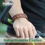 Real Sterling <b>Jewelry</b> Hot Vintage Italian Genuine Leather Europe Style Wide Men Bracelets, Braided <b>Handmade</b> Cowhide Bangles