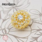 FirstQueen Inner Radiance, Clear CZ & 14K Gold Plated Beads Fits bracelet charms plata de ley 925 <b>supplies</b> for <b>jewelry</b> wholesale