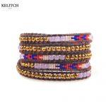 KELITCH Bracelets <b>Jewelry</b> Bohemian Charm Bracelet Design Multilayers Leather Crystal Seed beaded Stone <b>Handmade</b> Bohemian Gifts