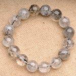 JoursNeige Natural Fidelity Black Quartz Rutilated Bracelet 14mm Beads Crystal Bracelet for Men Women <b>Jewelry</b> <b>Accessories</b>