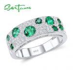 SANTUZZA <b>Silver</b> Rings for Women Green Nano White Cubic Zirconia Anniversary Ring Pure 925 Sterling <b>Silver</b> Party Fashion <b>Jewelry</b>