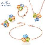 LAMOON 3pcs 3ct Oval Yellow Citrine Green Peridot Blue Topaz Jewelry Sets 925-sterling-<b>silver</b> Jewelry for women V003-1