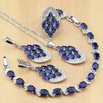 <b>Silver</b> 925 Jewelry Sets Blue Cubic Zirconia White CZ Beads For Women Earrings/Pendant/Ring/<b>Bracelet</b>/Necklace Set