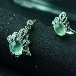 Natural green prehnite gem jewelry sets natural gemstone ring Pendant <b>Earrings</b> 925 <b>silver</b> Stylish butterfly women party jewelry