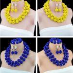 2016 New Arrival <b>Handmade</b> Crystal Ball African Two Row Beads <b>Jewelry</b> Set Nigerian Wedding African Women <b>Jewelry</b> Set Crystal