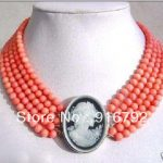 free shipping >>>>>5mm Beautiful Jewelry 5 rows coral <b>necklace</b>