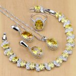 925 Sterling Silver <b>Jewelry</b> Yellow Cubic Zirconia <b>Jewelry</b> Sets For Women Earrings/Pendant/Necklace/Rings/Bracelet