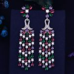 GODKI Luxury Trendy Half Flower Tassel Drop Full Mirco Paved Cubic Zirconia Naija <b>Wedding</b> Drop Earring Fashion <b>Jewelry</b>