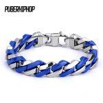 Fashion Link Chain Stainless Steel Blue and <b>Silver</b> <b>Bracelet</b> Men Heavy 10MM Wide Women <b>Bracelets</b> 2018 Bicycle Chain Wristband