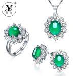 YB Oval Natrual Chalcedony Ring Stud <b>Earrings</b> Pendant Necklace 925 Sterling <b>Silver</b> Jewelry Sets 45cm Box bijoux en argent 925