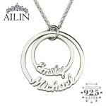 Two Disc Name <b>Necklace</b> in <b>Silver</b> Personalized Mom <b>Necklace</b> Disc Pendant <b>Necklaces</b> Customized Family <b>Necklace</b> 2 Stacked Discs