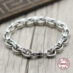 S925 Men's <b>bracelet</b> in Sterling <b>Silver</b> Personality trend letter domineering Punk style retro classic Send a gift to love