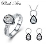 925 Sterling <b>Silver</b> Fine Jewelry Sets Trendy Engagement Sets Ring+<b>Earring</b>+Necklace for Women PTR050