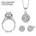 LMNZB 3PCS/Sets New Fashion Natural CZ Zircon Jewelry Ring Sets 925 Sterling <b>Silver</b> Wedding Sets Gift for Women LJZ090