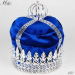 Royal Blue Velvet Large 9″ Crowns King Imperial Medieval Tiaras Round Clear Crystal Pageant Party Costumes For Men Hair <b>Jewelry</b>