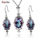 Szjinao Dubai Jewelry Sets Vintage 925 Sterling <b>Silver</b> Jewelry Wedding Decoration Rainbow Big Topaz <b>Earrings</b> Necklace Jewelry