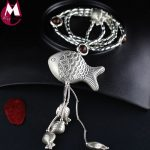 75cm Long Sweater Chain Fine DIY Thai <b>Silver</b> Fish Pendant For Women Wood Beads 925 <b>Sterling</b> <b>Silver</b> Necklace Tassel <b>Jewelry</b> SN15