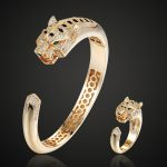 Brand Statement Tiger Animal Men's cubic Zircon Bangle And Ring <b>Jewelry</b> Sets Metal Copper Bangles Aneis for Men <b>Jewelry</b>