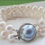 FREE SHIPPING>>>@@ 0737 2row 8″ white round freshwater pearl <b>bracelet</b>