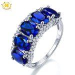 Hutang Five-stone 5.0ct Created Blue Sapphire Fine <b>Jewelry</b> 925 Sterling <b>Silver</b> Gemstone Ring For Women New Brand