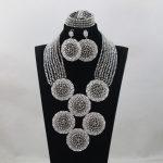 Top Design <b>Silver</b> Nigerian Wedding African Beads Jewelry Set African Jewelry Sets Bead Necklace Jewelry Set Free ShippingABL995
