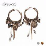 eManco Ethnic Style Dangle Drop Hanging Earrings for Women Vintage Charms Large Hoop Earring Antique Pendant <b>Fashion</b> <b>Jewelry</b>