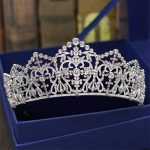 Bridal Tiaras and Crowns Sliver Color Hair Crown Full Cubic Zirconia Large Queen Crown for Women Wedding Hair <b>Jewelry</b>