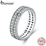 BAMOER Authentic 925 Sterling Silver Double Layers Circle Finger Rings for Women Clear CZ Wedding Engagement <b>Jewelry</b> SCR381