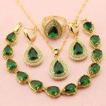 WPAITKYS Trendy Green Water Drop Cubic Zirconia Gold Color <b>Jewelry</b> Sets For Women Weding Earrings Pendant Ring Bracelet Free Box