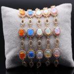 JINYAO <b>Jewelry</b> Gold Color Bracelets Bule/White Fire Opal&AAA Zirconia Bracelet Bangle 5 Colors For Women <b>Wedding</b> Birthday Gift