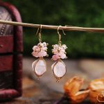 Lanseis Charm Leave Pink Stone Big Pearl Earrings, 1Pcs Unique Party, Wedding, Spring Style, Design <b>Handmade</b> <b>Jewelry</b> For Women