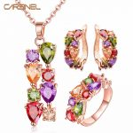 CARSINEL Colorful <b>Jewelry</b> Sets Cubic Zircon Hypoallergenic Rose Gold color Necklace/ Earrings/Ring Wedding <b>Jewelry</b> for Women