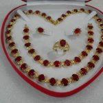 Prett Lovely Women's Wedding women's gift true red gem yellow Earring Bracelet Necklace Ring +box AAA 5.27 silver <b>jewelry</b>