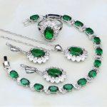 925 <b>Silver</b> Jewelry Green Rhinestone White CZ Costume Jewelry Sets For Women Wedding Ring/Earring/Pendant/Necklace/<b>Bracelet</b>