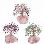SUNYIK Natural Rose Quartz Cluster Base Crystal Money Tree Bonsai Figurine for Wealth Luck