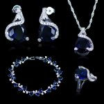 New Arrival Women's Blue Crystal Zirconia 925 Stamp <b>Silver</b> Color Jewelry Sets Earrings Pendant Necklace Rings Best Party Present