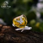 Lotus Fun Real 925 <b>Sterling</b> <b>Silver</b> Natural Amber Handmade Designer Fine <b>Jewelry</b> Looking Back Butterfully Rings for Women Bijoux