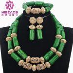 Smart Green Nigerian Wedding Coral Beads <b>Jewelry</b> Set Dubai Gold African Bridal <b>Jewelry</b> Sets for Women QW1152