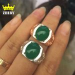 Men ring Genuine 925 <b>sterling</b> <b>silver</b> Natural green Chalcedony man gem rings stone fine <b>jewelry</b>