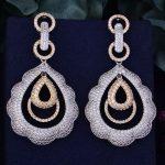 GODKI 63mm Luxury Trendy Water Drop Geometry Full Mirco Cubic Zirconia Setting Naija <b>Wedding</b> Women Earring Fashion <b>Jewelry</b>