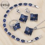 Blue Cubic Zirconia Costume Jewelry Sets Bridal Women <b>Silver</b> 925 Jewelry Ring <b>Bracelet</b> Pendant Earrings and Necklace Set Gifts